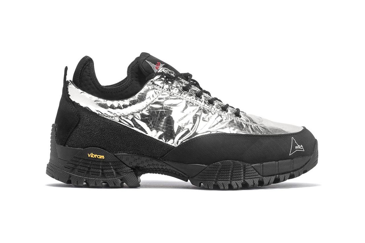 roa neal sneaker hiking shoes black silver foil colorway release