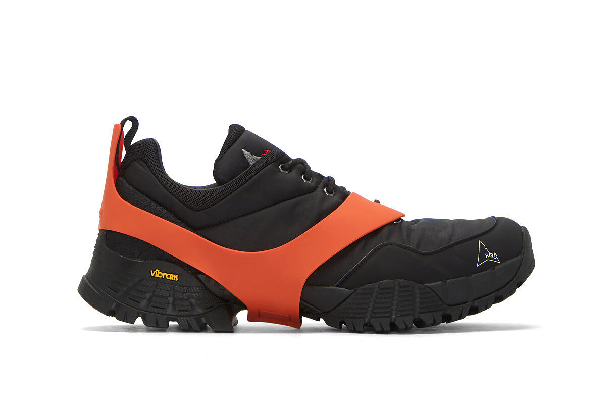 ROA Oblique Ripstop Sneaker Black Detachable Rubber Overlay Red Dusty Red Vibram Soles
