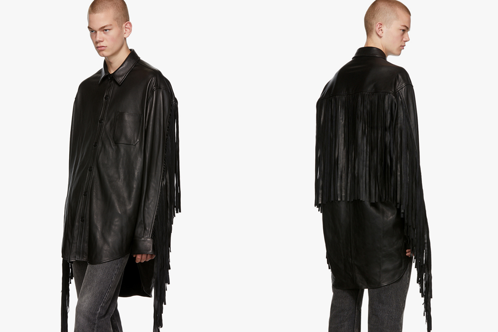 Vetements Black Lambskin Fringe Shirt