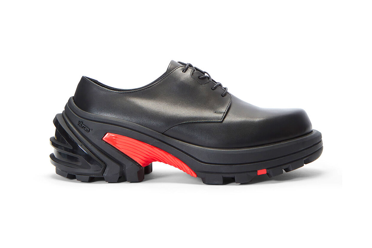 1017 ALYX 9SM matthew m williams MMW Black Lace-Up Leather Sneakers Release Vibram removable Sole derby shoe chunky sportswear shoes footwear smooth grain AW19 FW19 Fall/Winter 2019 drop date info price w2c LN-CC red chunky outsole