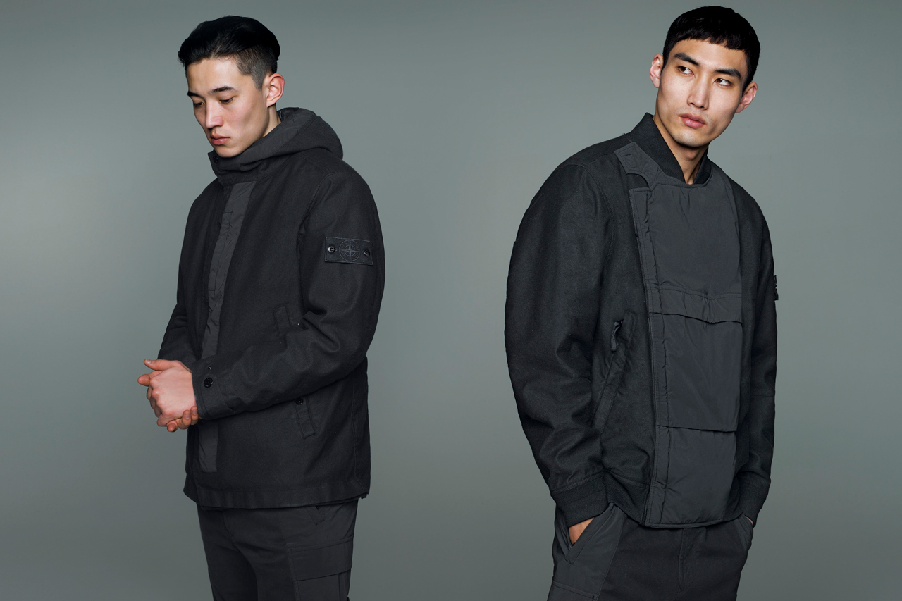 stone island ghost pieces aw 019 020 fall winter 2019 collection release camouflage monochromatic hooded jacket nylon trousers military green blue black