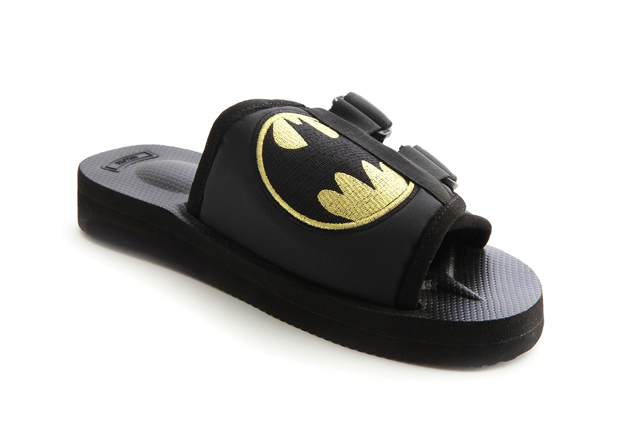 'Batman' x Suicoke KAW 80th Anniversary Celebratory Footwear Collaboration Vibram Outsole Sandal Nylon Upper Bat Wings Logo Gotham city installations Galeries Lafayette Champs-Élysées