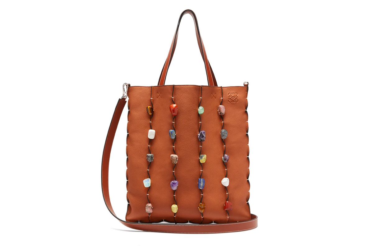 LOEWE Stone-Embellished Leather Tote Bag