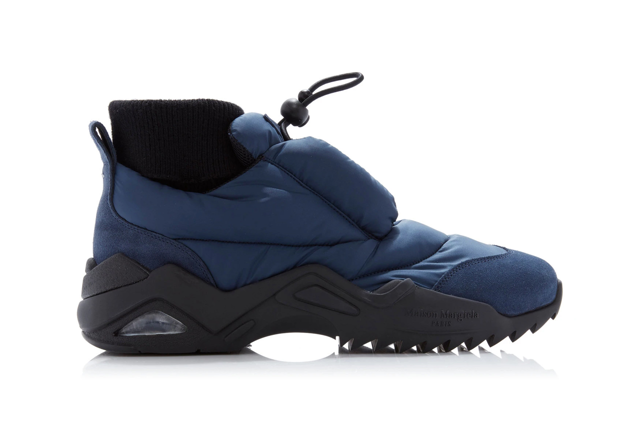 maison margiela puffer coat sneakers navy suede trimmed polyester release fall 2019 toggle drawstring sock lining