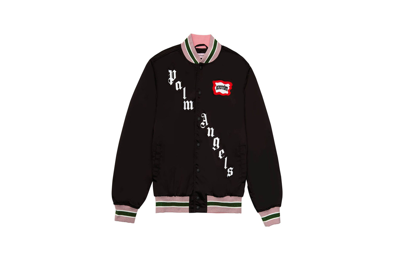 palm angels bbc ice cream skull varsity jacket rhinestone graphic exclusive release the webster
