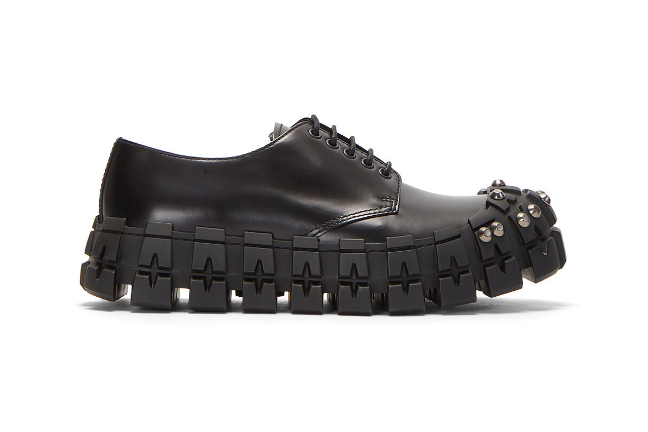 prada studded brushed leather shoes in black release shop fall 2019 chunky footwear rubber sole