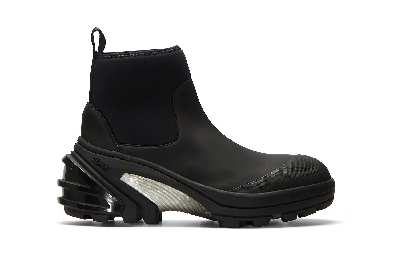 1017 ALYX 9SM Vibram Sole Contrast Panel Boots black Matthew M Williams technical combat performance chelsea neoprene functional