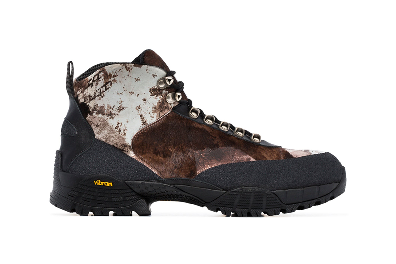 1017 ALYX 9SM Camo Pony Skin Boot Release Brown Black Leather Pony Fur Vibram Sole