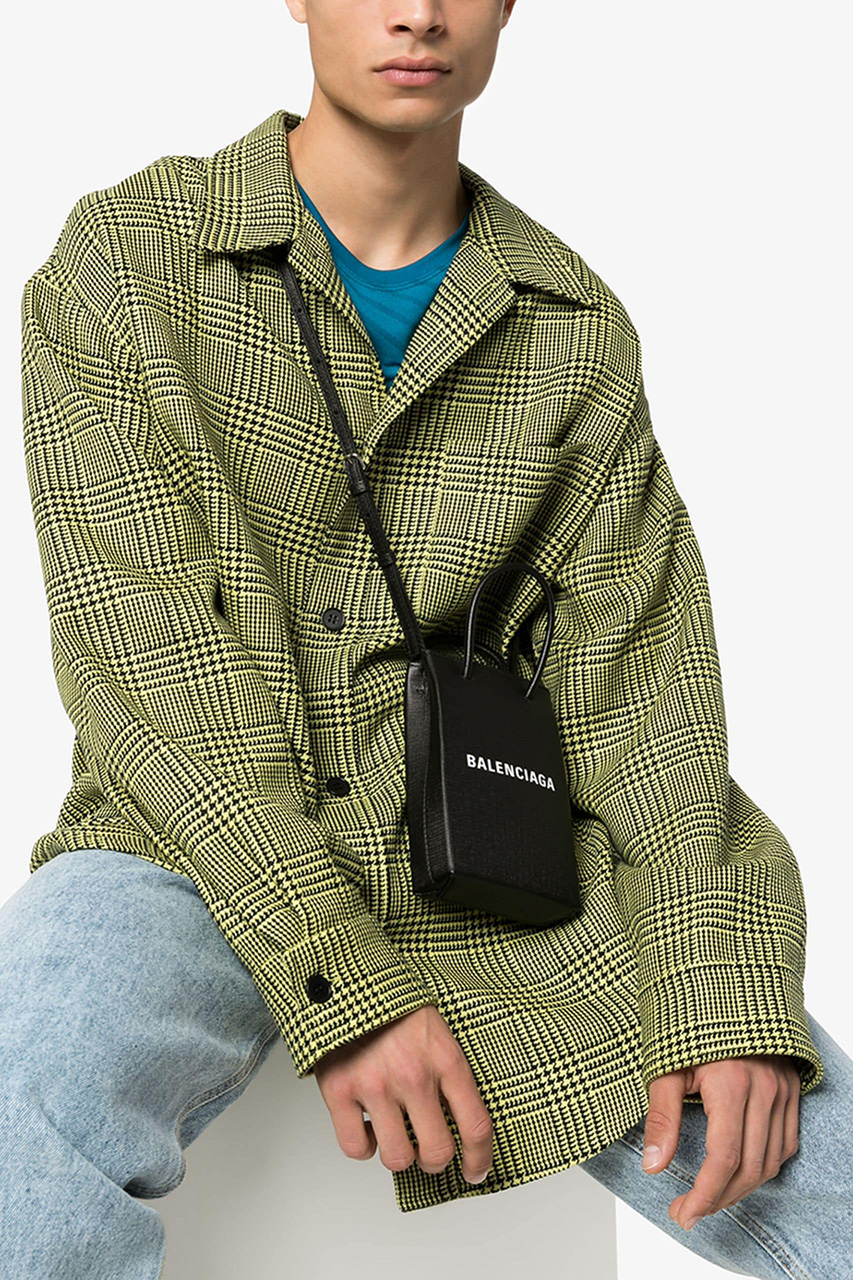 Balenciaga Shopping Bag Phone Holder Neck Loop Demna Gvasalia Calf Leather Two Top Handles Fall Winter 2019 FW19 Collection Accessories Mini Bag Trend