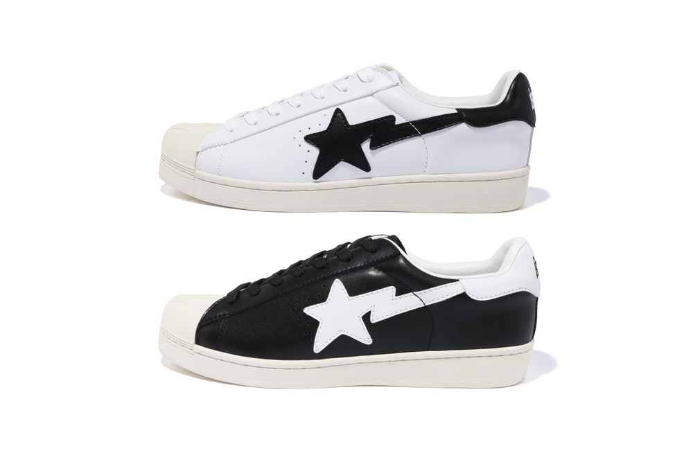 "BAPE Skull Sta ""Black"" & ""White"" Release a bathing ape sta motif black white shell toe adidas superstar"