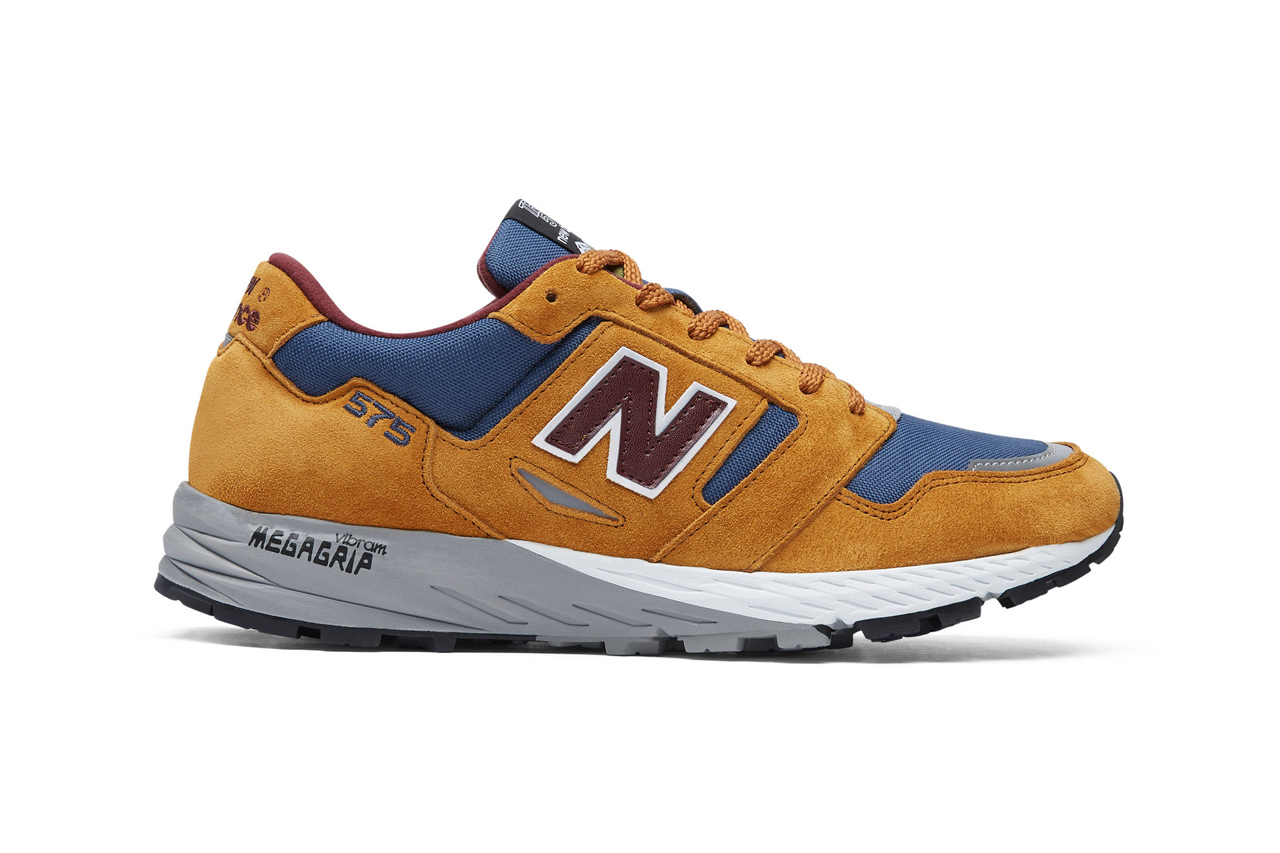 new balance made in uk 575 sneakers Golden Blaze with Chambray Burgundy colorway suede textile upper heritage trail inspired MTL575V1 27416