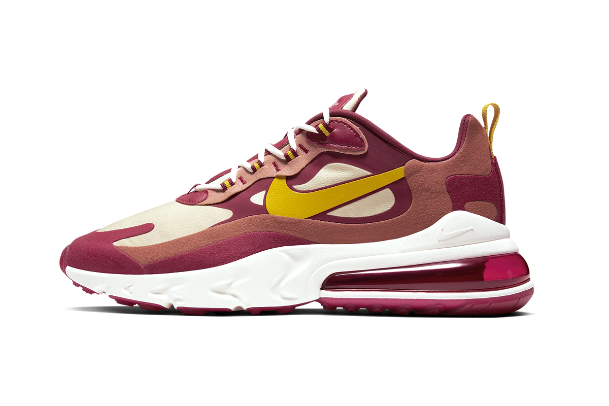 nike air max 270 react noble red team gold dusty peach dark sulfur flannel print AO4971-601