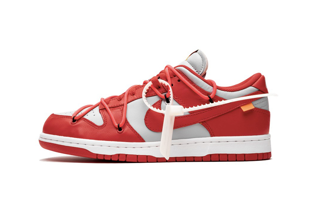 "Off-White™ x Nike SB Dunk Low ""University Red"" stadium goods virgil abloh closer look better detailed collaborations release info"