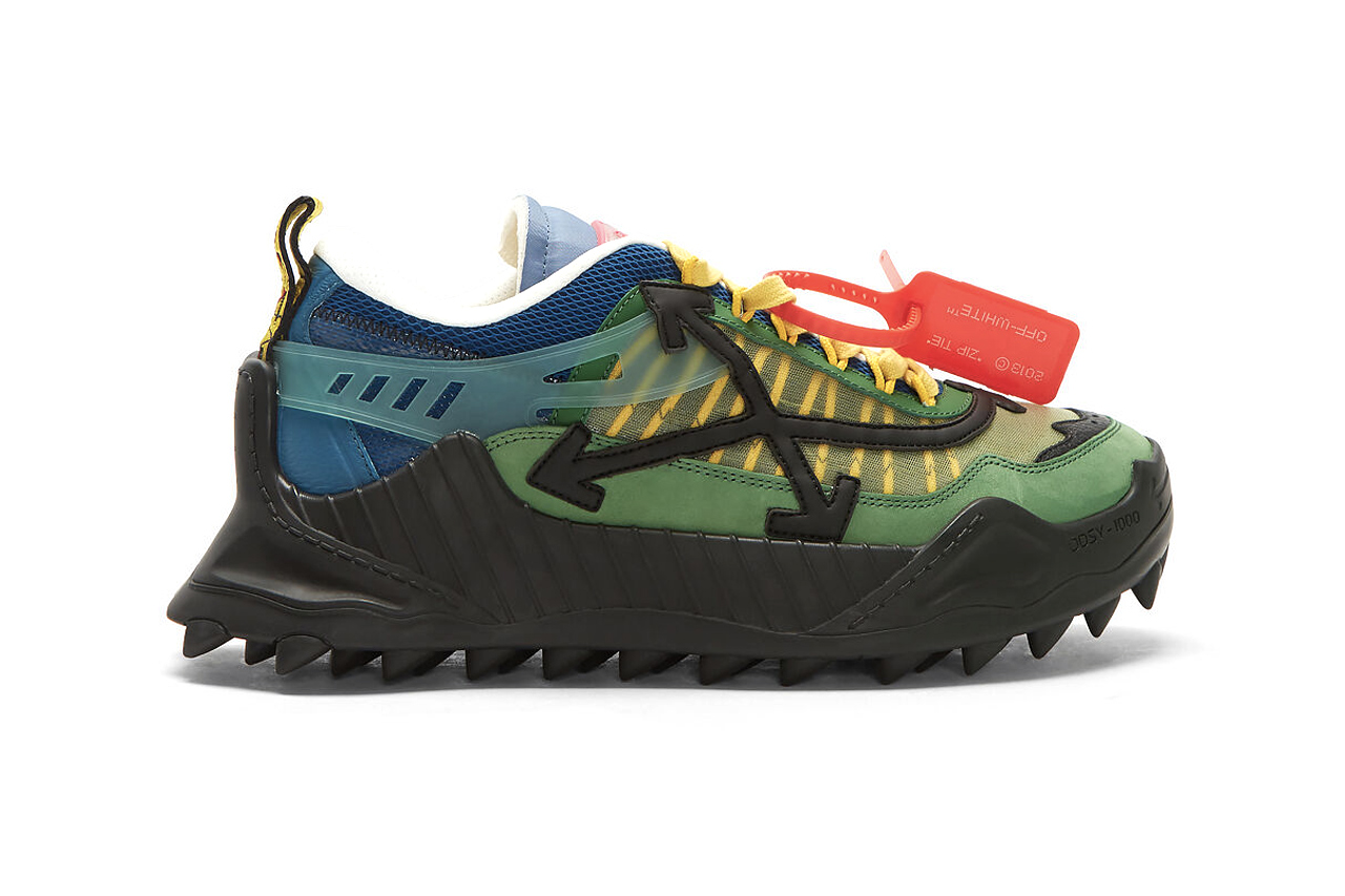 Off White ODSY 1000 Green Dark spikes footwear sneakers virgil abloh industrial quotations chunky shoes heavy made in italy cross arrows logo
