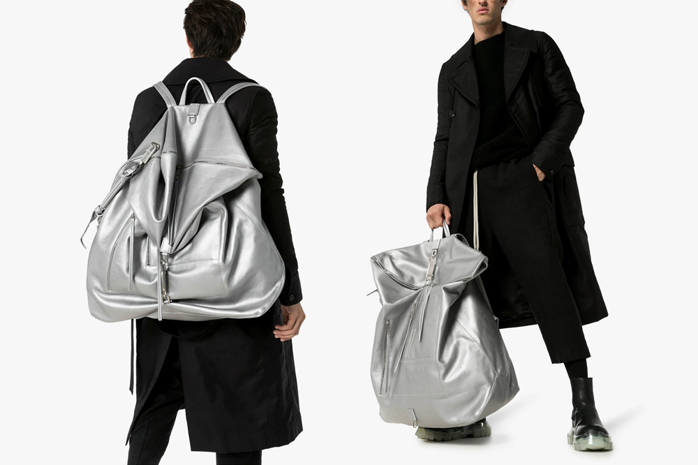Rick Owens Silver Oversized Leather Duffle Backpack