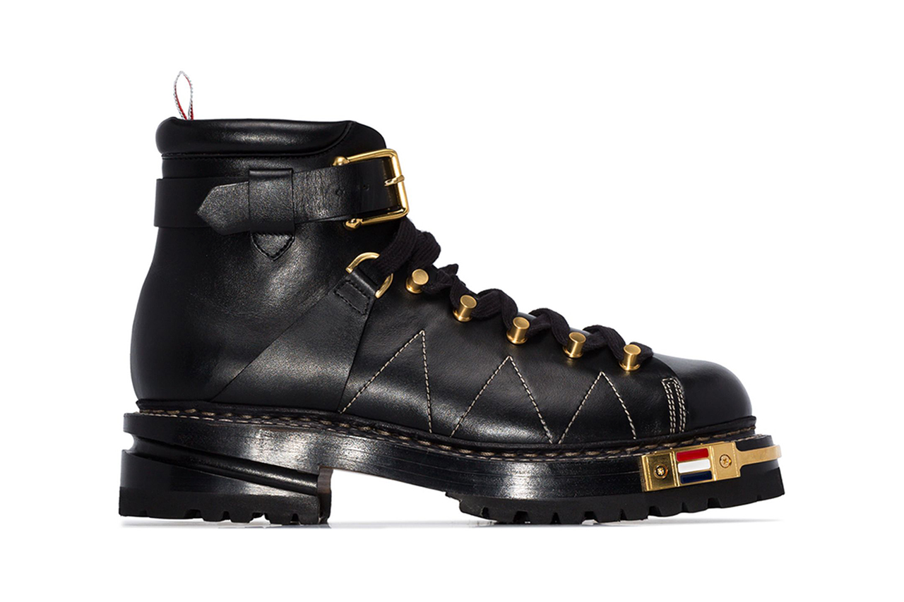Thom Browne Black Calfskin Leather Hiking Boot Fall Winter 2019 FW19 Footwear Boots Chunky Sole Unit Winter-Ready Luxury Pebbled Brass Hardware Detailing Designer Browns Menswear Grosgrain Loop Tap Exposed Stitching Utilitarian Luxe Sartorial