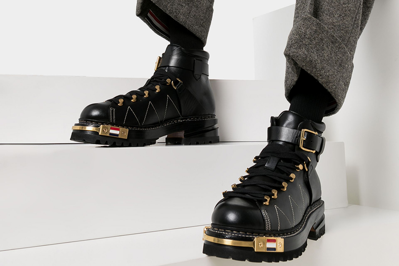 Thom Browne Black Leather Hiking Boots