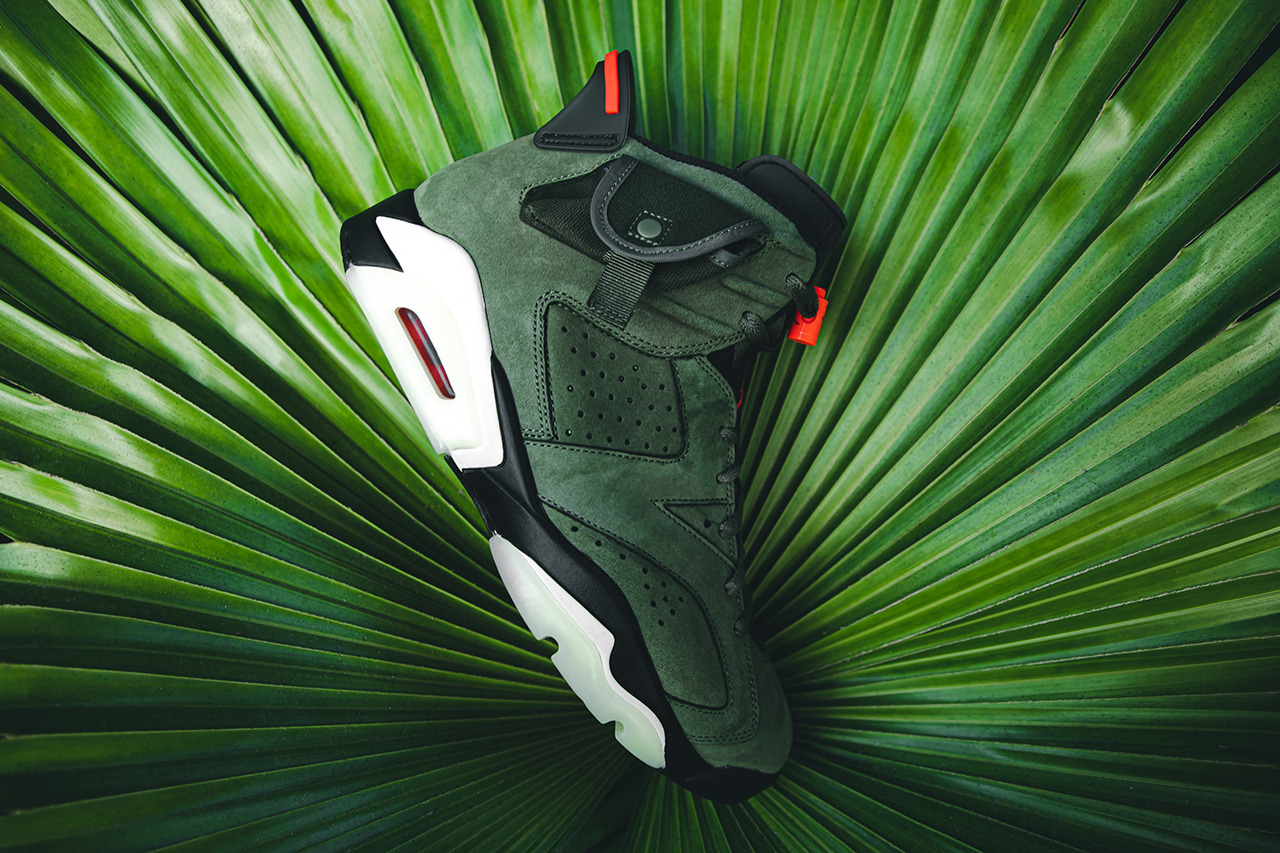 travis scott air jordan brand 6 cactus jack closer look buy cop purchase raffle olive green red infrared branding white black translucent midsole glow in the dark hbx dover street market la flame