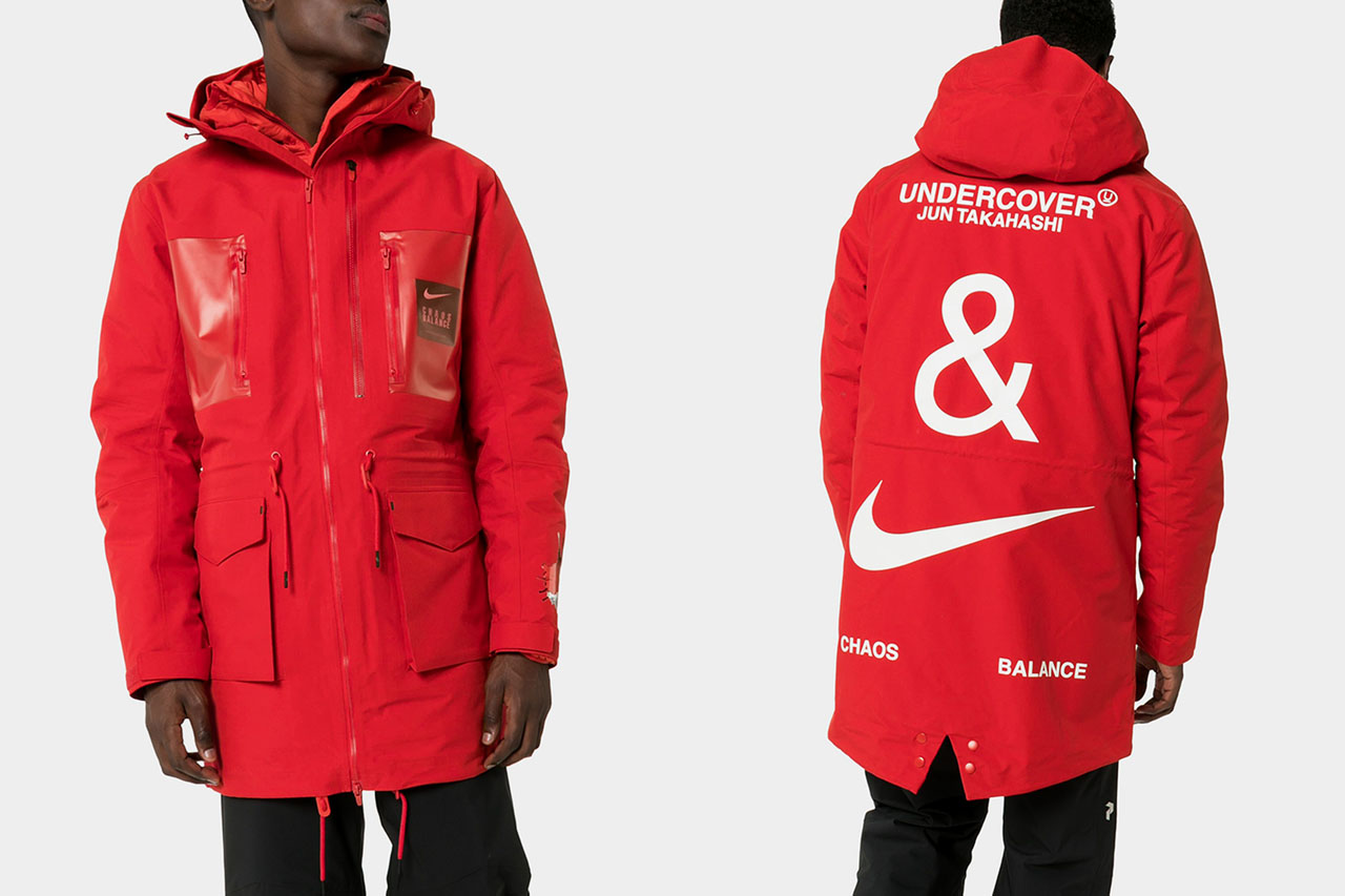 UNDERCOVER x Nike Red Fishtail Logo Print Parka