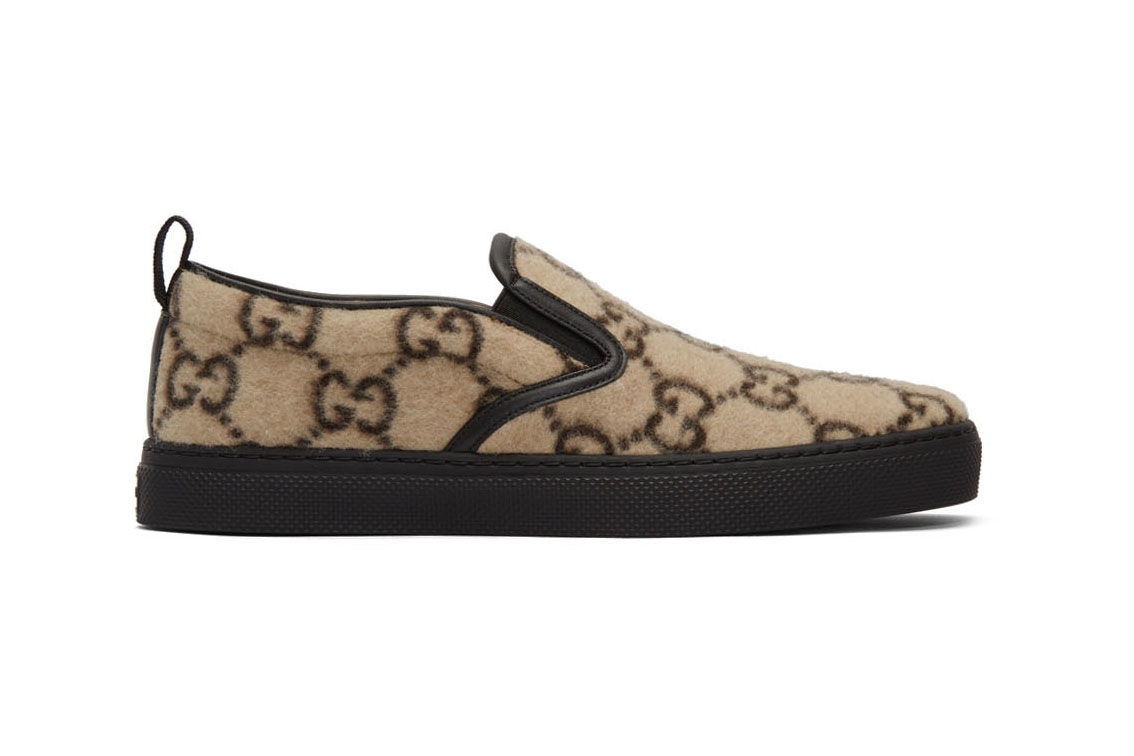 "Gucci Dublin Sneakers ""Beige Wool GG"" Alessandro Michele Release Information Slip On Trainer Footwear Italy Fall Winter 2019 FW19 Cozy Cruise 2020 SSENSE Cop Online Buy"