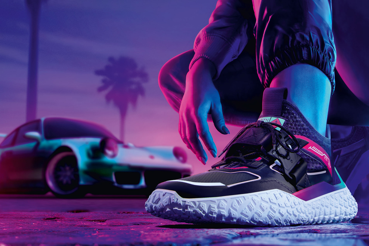 'Need for Speed Heat' x PUMA Hi OCTN First Look Sneaker Release Information Cop Drop Exclusive Gaming Virtual Reality Real Life Neoprene Metal Buckle Tire Tread Sole Unit