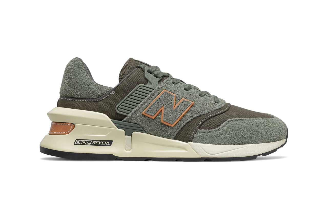 new balance 997 sport sneakers slate green with camo green colorway classic burgundy with nb burgundy release encap midsole
