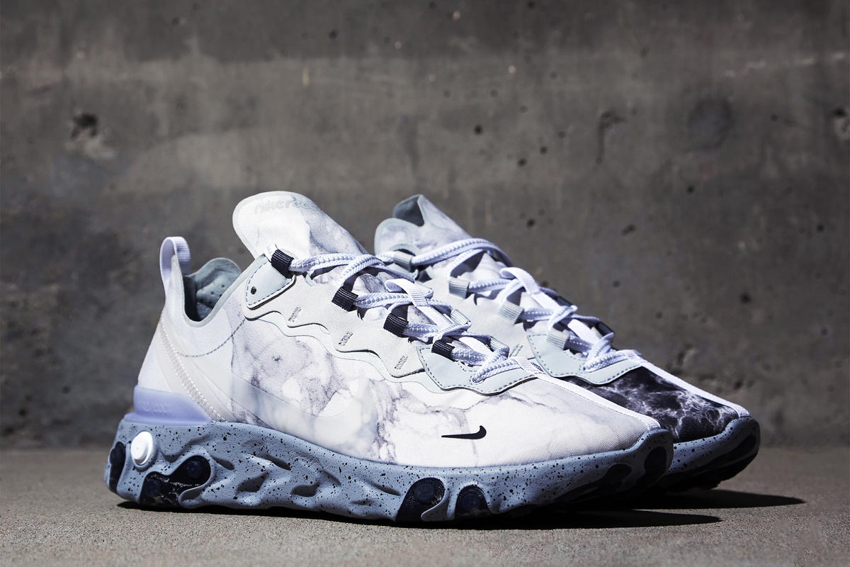 Kendrick Lamar Nike NikeLab React Element 55 KL Pure Platinum/Clear/Wolf Grey Cj3312-001 sneakers release info buy cop purchase collaboration marble