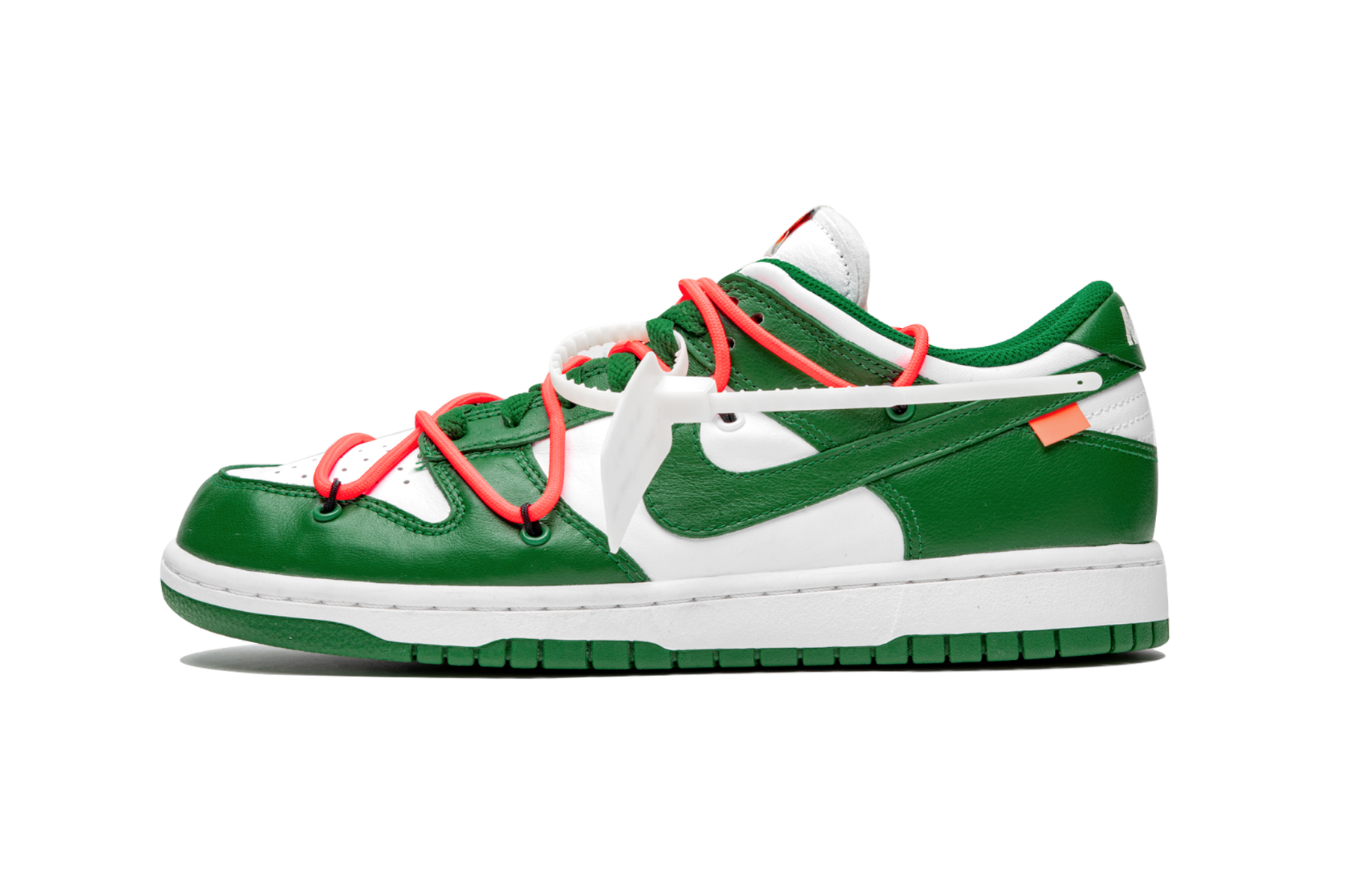 "Off-White™ x Nike SB Dunk Low ""Pine Green"" stadium goods virgil abloh closer look better detailed collaborations release info yellow blue navy"