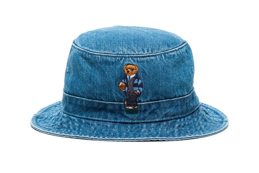 Polo Ralph Lauren Blue Teddy Bear Embroidered Denim Bucket Hat