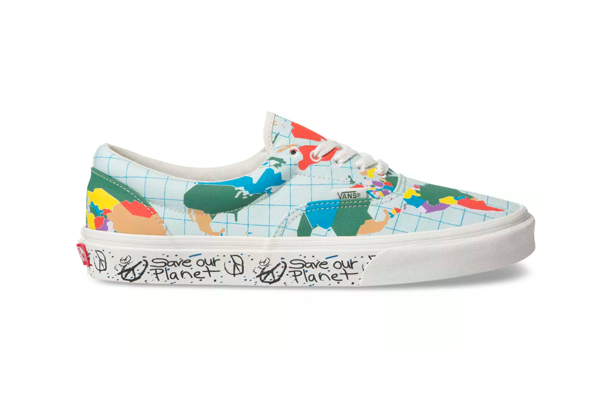 "Vans ""Save Our Planet"" Collection Release  world map Sustainable Coastlines Hawaii shoes sneakers hats accessories"