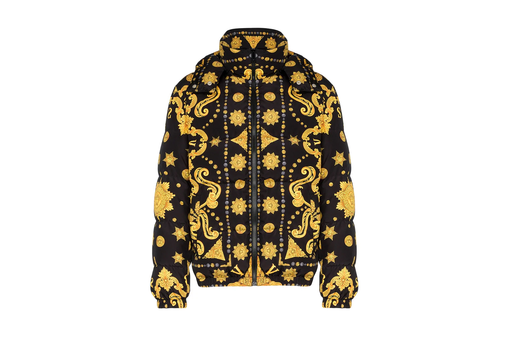 Versace Baroque-Print Puffer Jacket Release Jackets Browns Fashion BROWNS Italian Outerwear