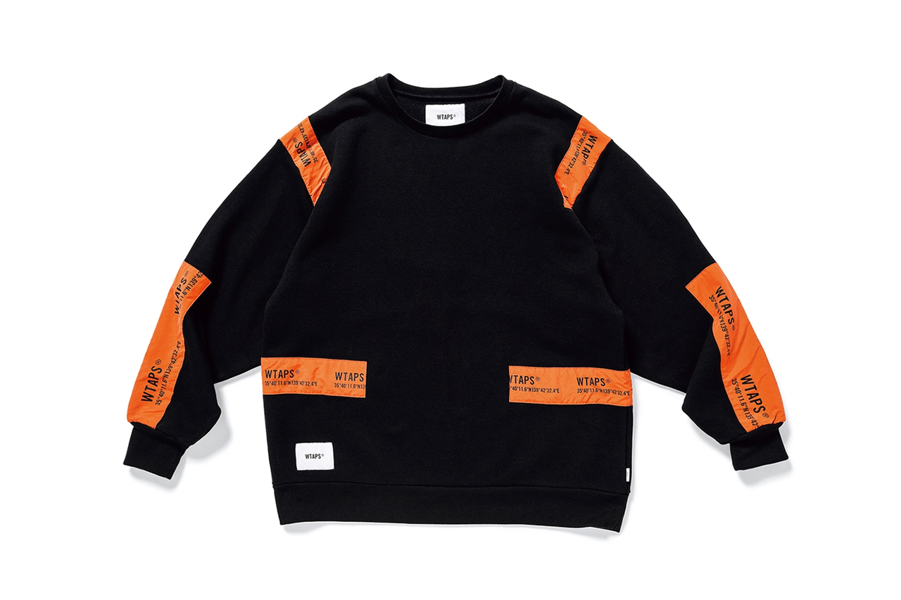 WTAPS Banner Sweatshirts black orange grey crewnecks patches nylon branding shibuya tokyo atelier tetsu nishiyama fall winter 2019 mil spec copo layers essentials streetwear japanese