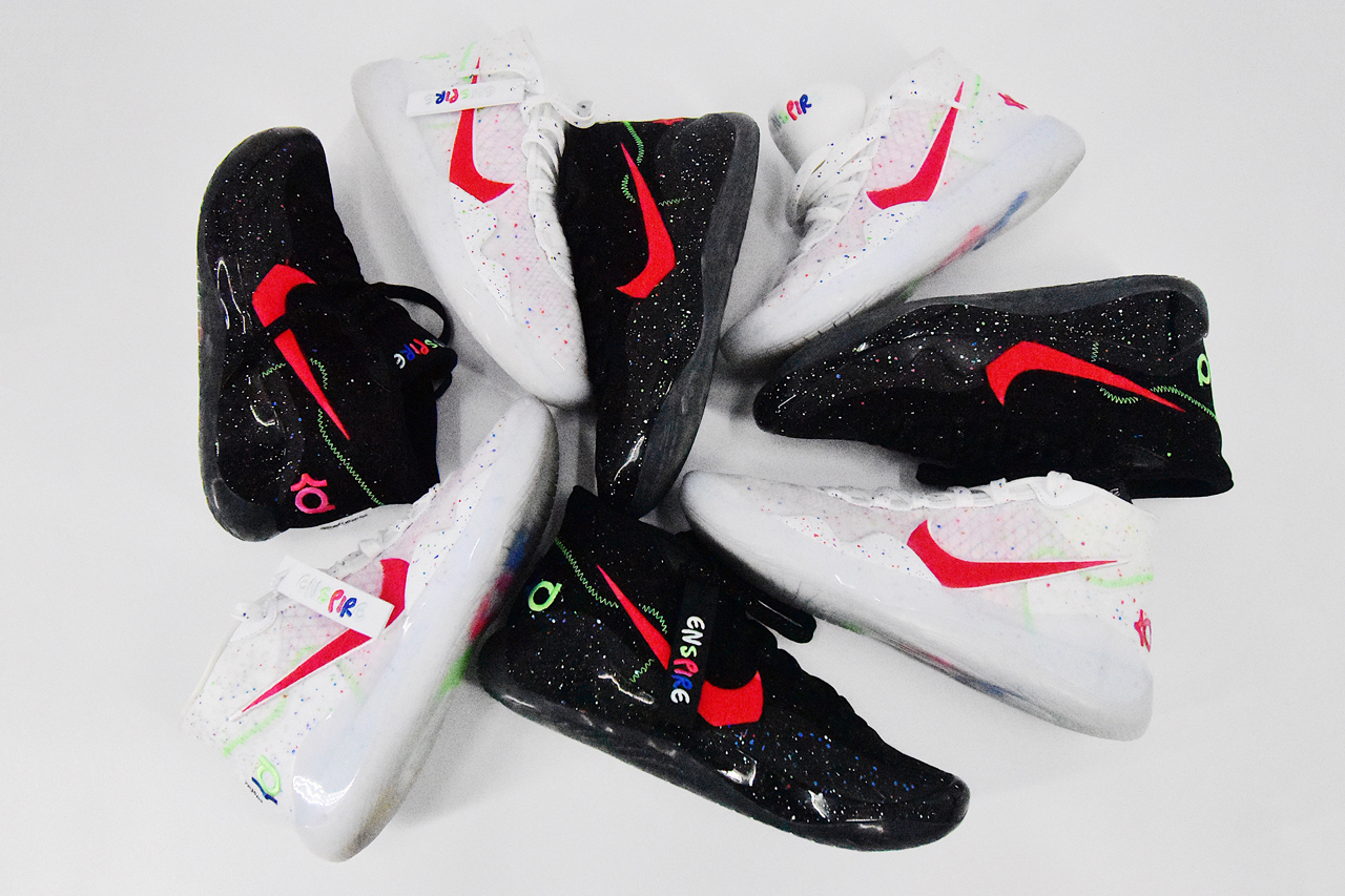enspire nike kd 12 white black red blue green speckled kevin durant devonte young friends release date info photos price