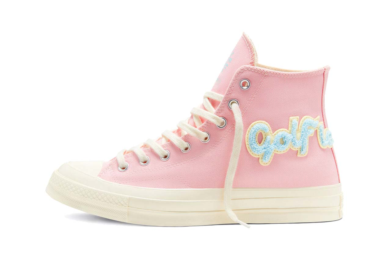 golf le fleur converse chuck 70 chenille restock almond blossom egret colorway pink pastel sneakers