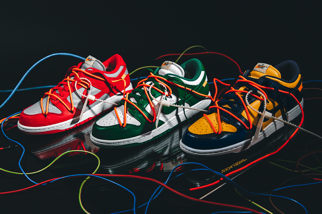 Off-White™ Nike Dunk Low virgil abloh university red gold pine green release information buy cop purchase details sneaker footwear sb