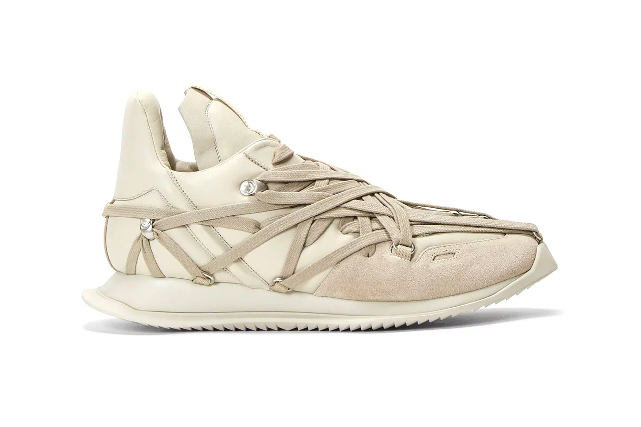 Rick Owens Maximal Runner Beige sneakers footwear kicks runners trainers shoes streetwear bondage laces light brown silver toned eyelet hooks drkshdw made in italy leather suede