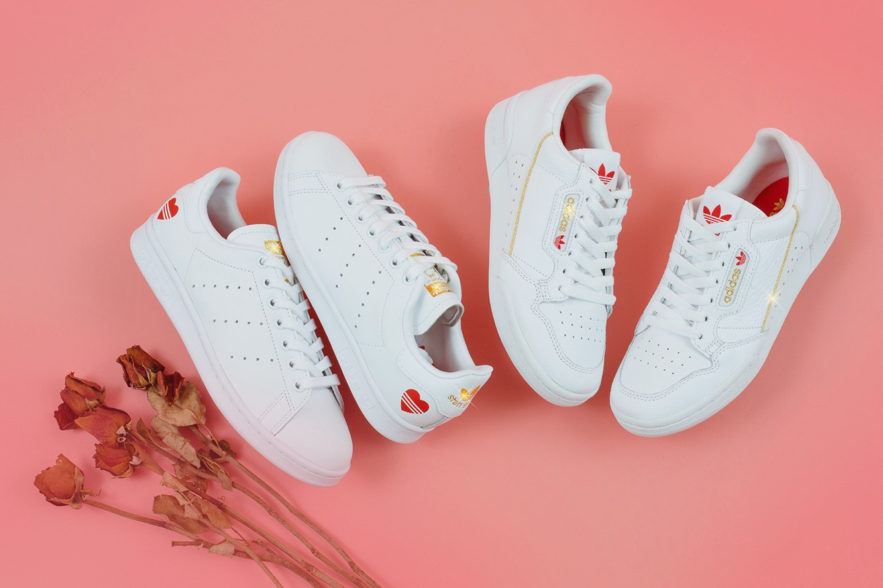 adidas Stan Smith & Continental 80 Valentine's Day Pack Photography First Look VDAY Boyfriend Girlfriend Presents What to Buy Sneakers Release Information Footwear Love Couples Ideas Three Stripes Leather Gold Foil Branding Trefoil