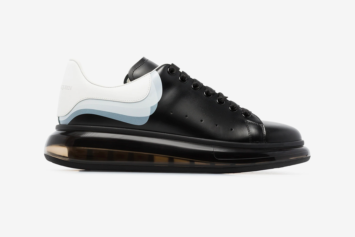 "Alexander McQueen 3D Print Oversized Sneaker ""black/white"" release info buy now browns translucent bubble sole"