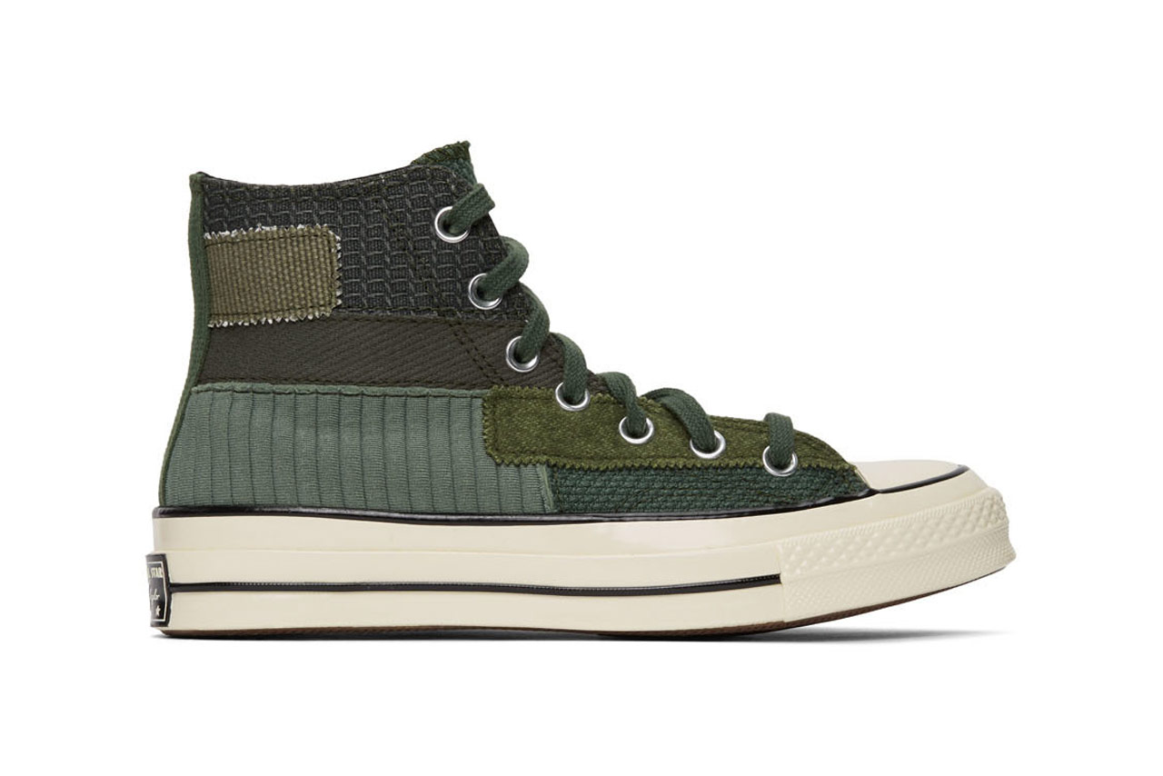 converse chuck 70 hi high top patchwork green off white colorways sneaker release hightop panelled canvas twill ripstop jersey