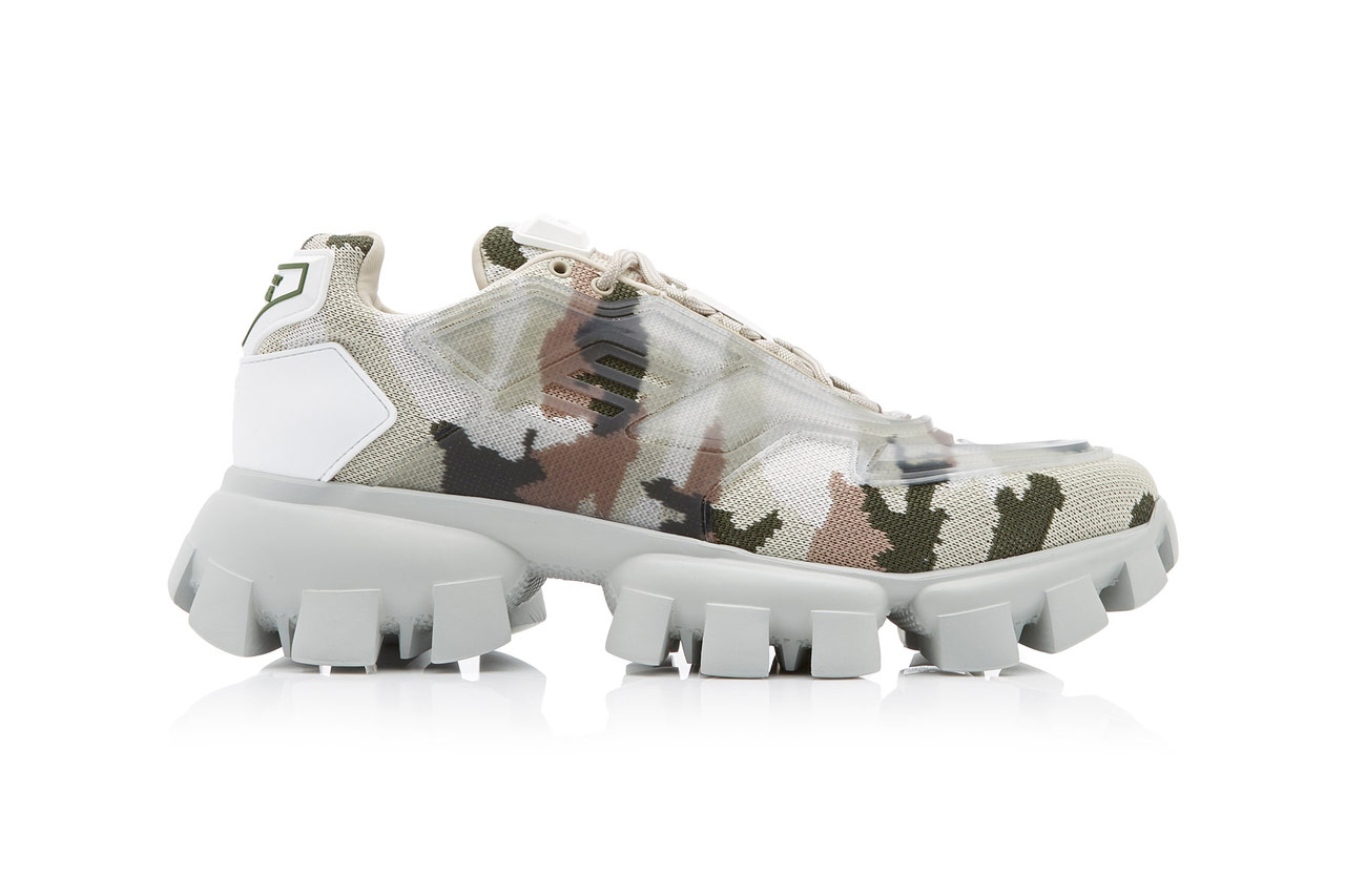 prada camo camouflage rubber knit sneakers multi colorway release made in italy lace up front