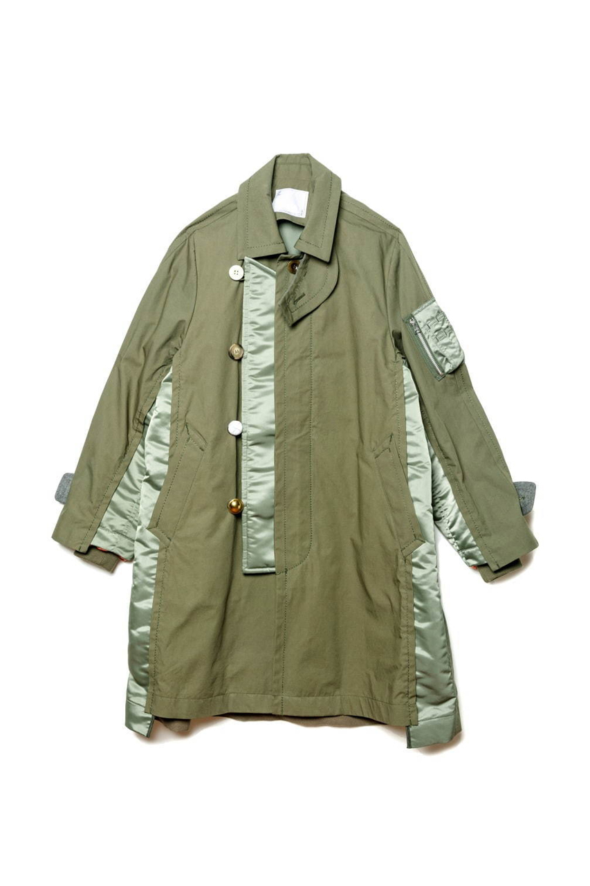 sacai Exclusive Nagoya Sakae Mitsukoshi Jackets coats trench deconstruction militaristic bomber ma 1 flight modular reconstruction multi panel garment store opening tokyo chitose abe