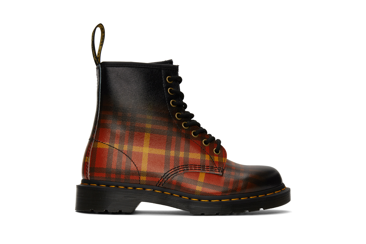 Dr Martens 1460 tartan print gradient check release information buy cop purchase SSENSE red black yellow