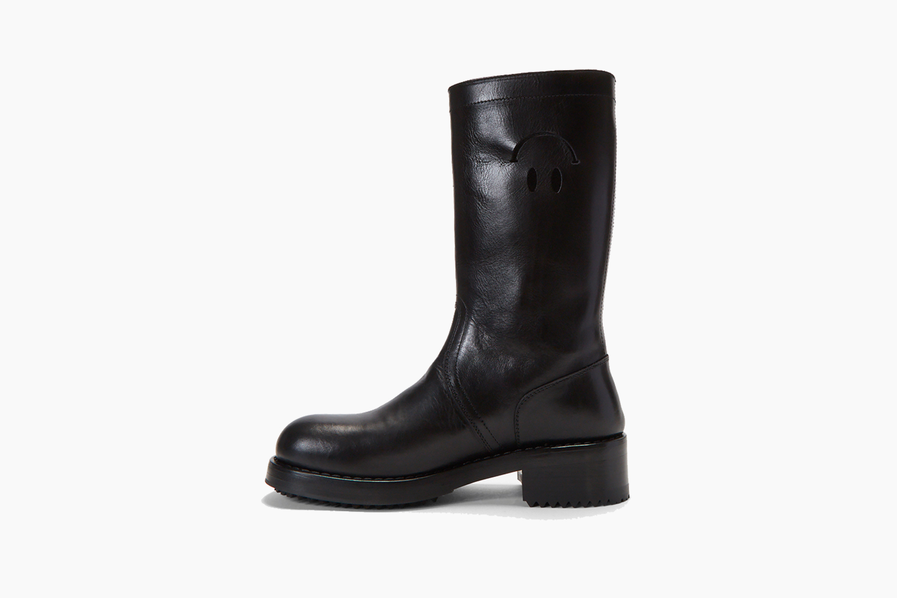 Raf Simons Cut-Out Smiley Face Leather Boots