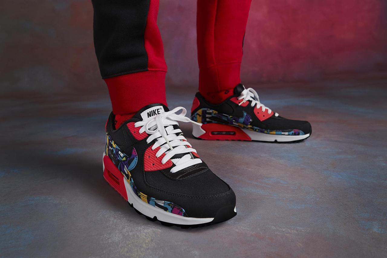 Nike Air Max 90 1990s archive department crinkle nylon apparel release information buy cop purchase february 24 pattern print bold colorful
