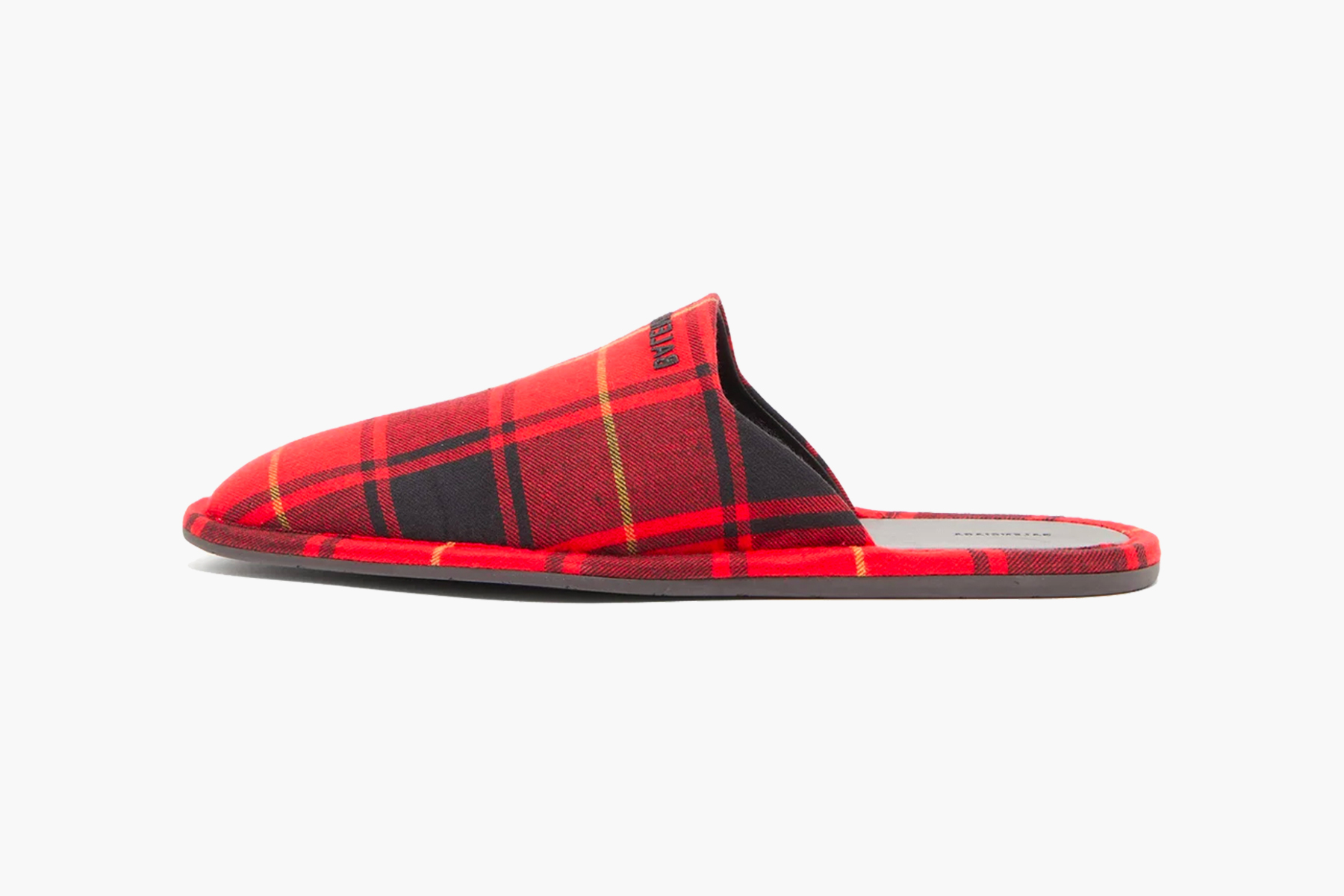 Balenciaga Logo-Embroidered Tartan Flannel Slippers