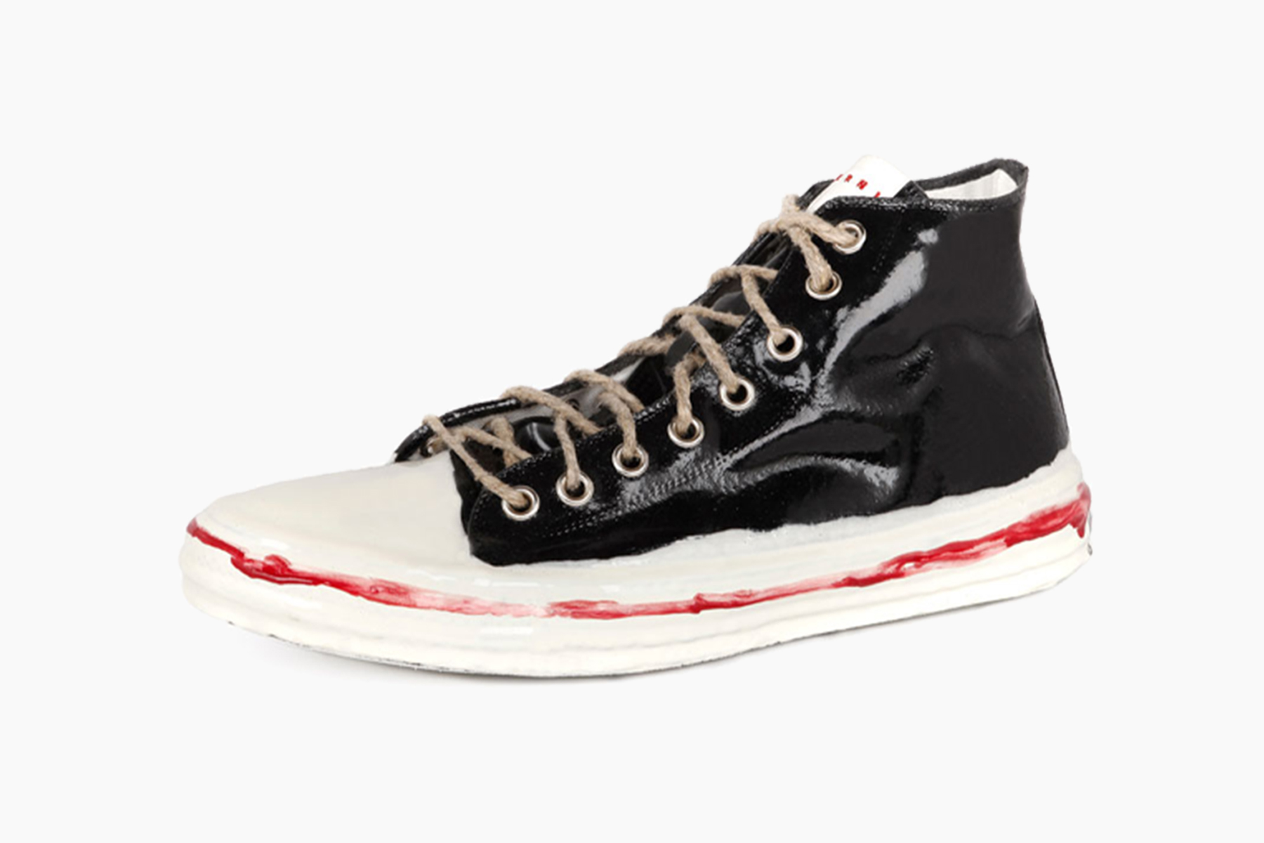 Marni Black & White Painted Low-Top Sneakers