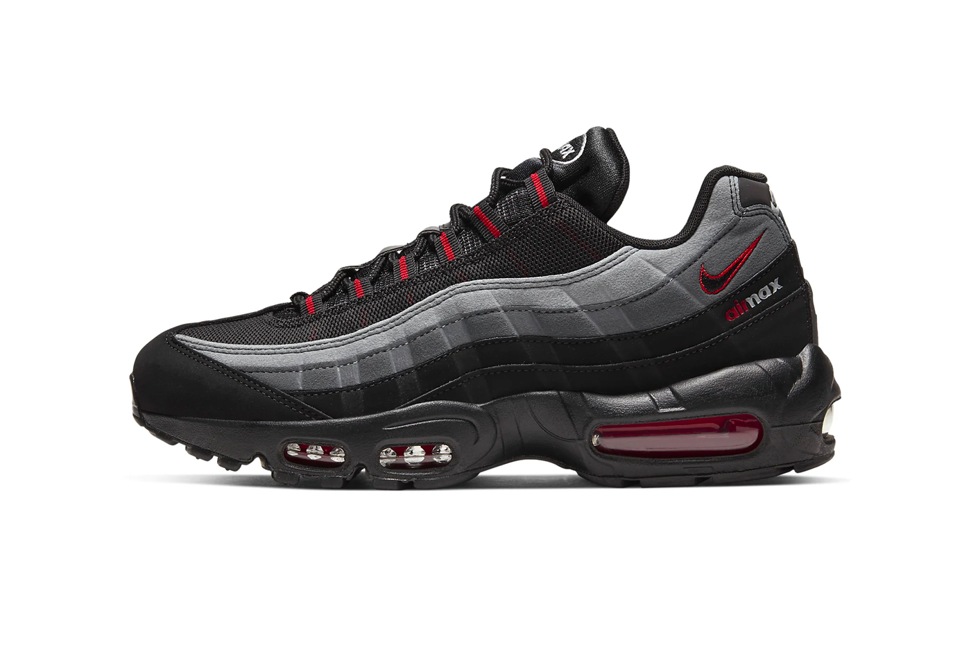 Nike Air Max 95 Iron Gray University Red black sneakers shoes footwear menswear spring summer 2020 collection swoosh runners trainers kicks CW7477 001 air sole unit max air
