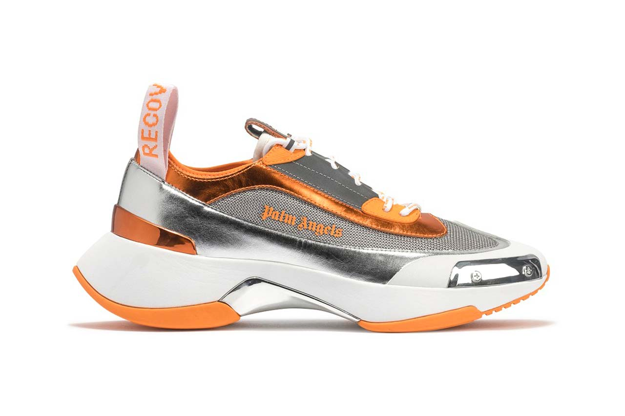 palm angels recovery laceup lace up sneaker silver orange metallic colorway ss20 spring summer 2020 hbx
