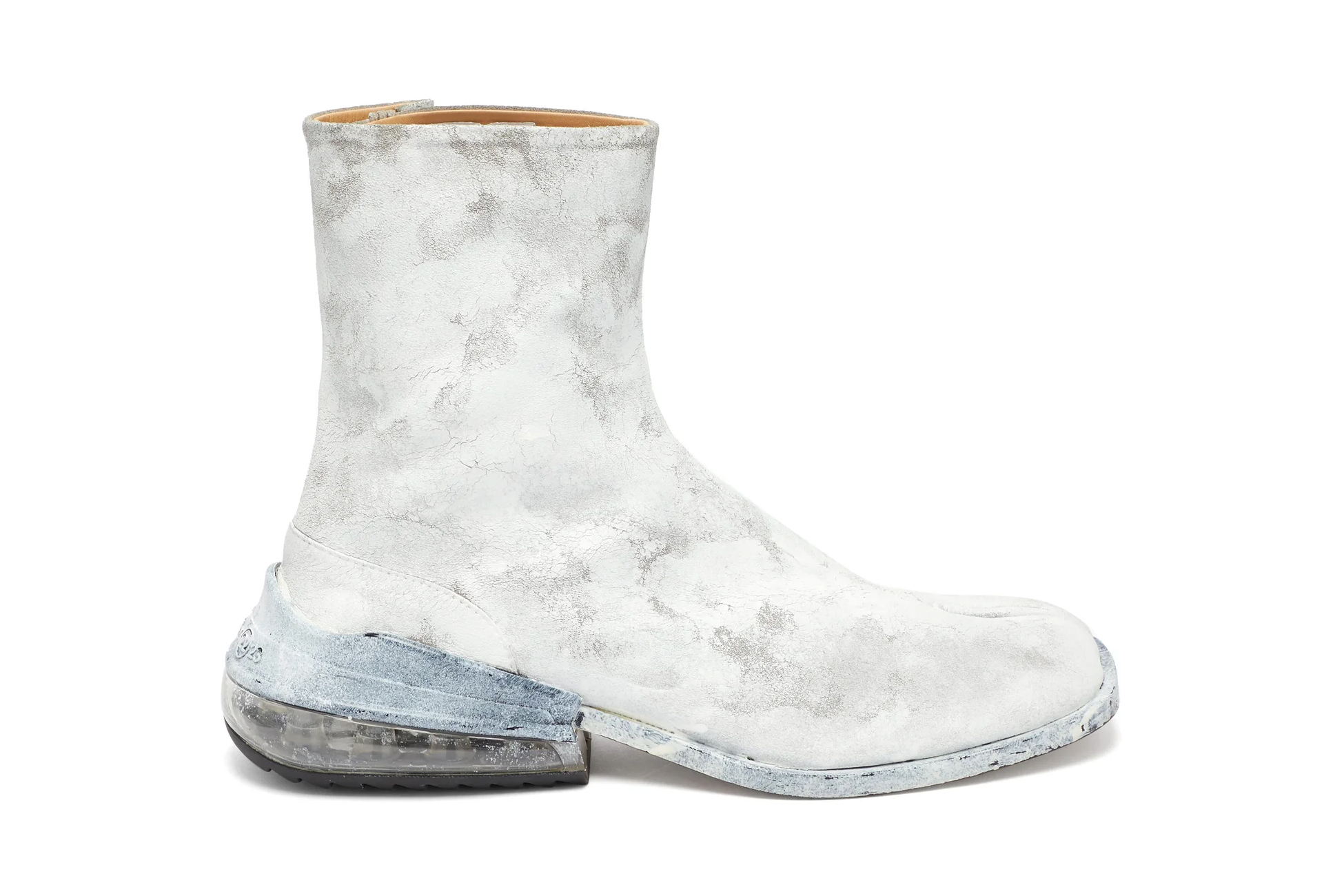 Maison Margiela Tabi Airbag Tabi Ankle Boots Release  Matchesfashion retail painted cracked paint MMM boots footwear tabi split-toe Antwerp