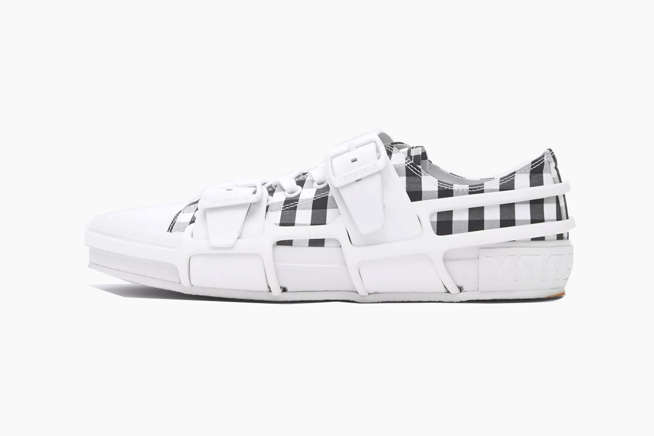 Burberry Gingham Cotton and Leather Webb Sneakers